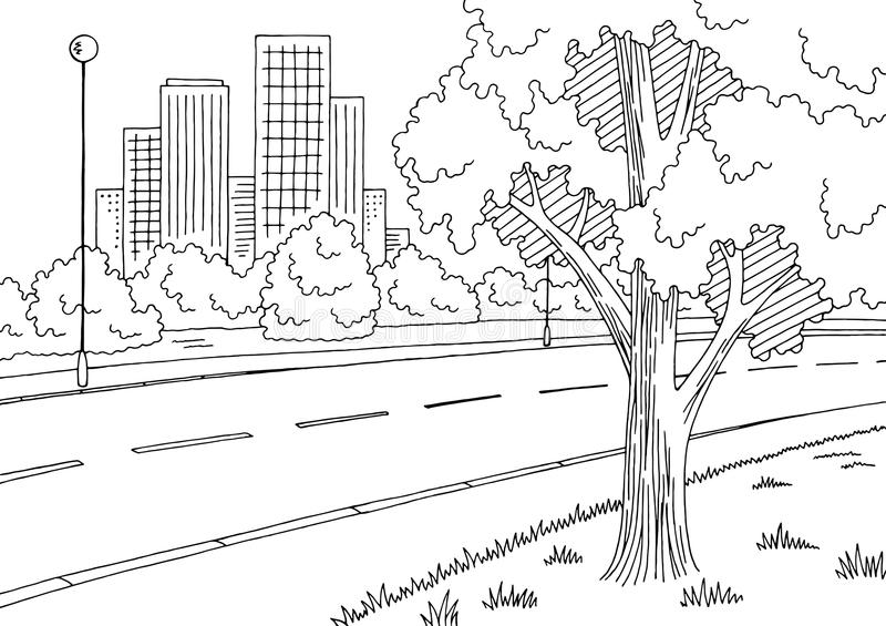 Street road graphic black white city landscape sketch illustration vector. Street road graphic black white city landscape sketch illustration vector illustration