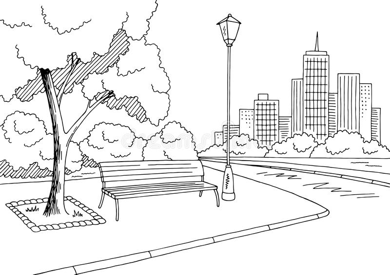 Street road graphic black white city landscape sketch illustration. Vector royalty free illustration
