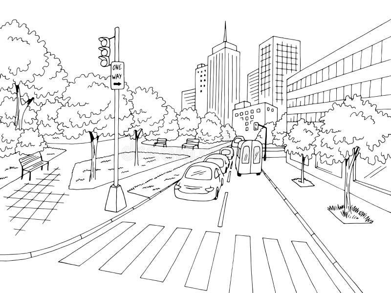 Street road graphic black white city landscape sketch illustration vector. Street road graphic black white city landscape sketch vector royalty free illustration