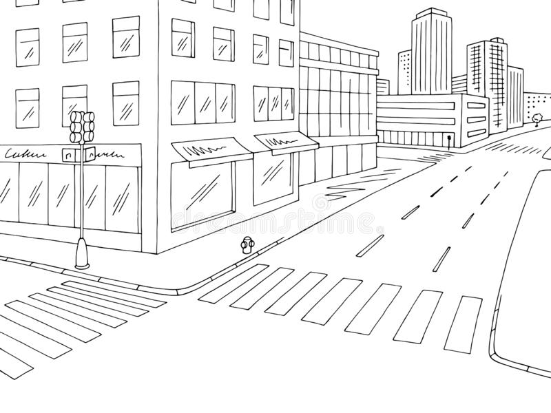 Street road graphic black white crossroad city landscape sketch illustration vector. Street road graphic black white crossroad city landscape sketch vector stock illustration