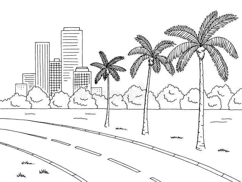 Street road palm tree graphic black white landscape sketch illustration. Vector stock illustration
