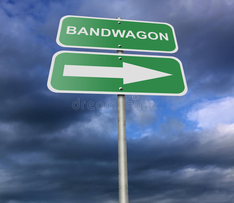 Street Road Sign Bandwagon. Illustration of a street road sign message Bandwagon, possibly for a business or personal strategy vector illustration