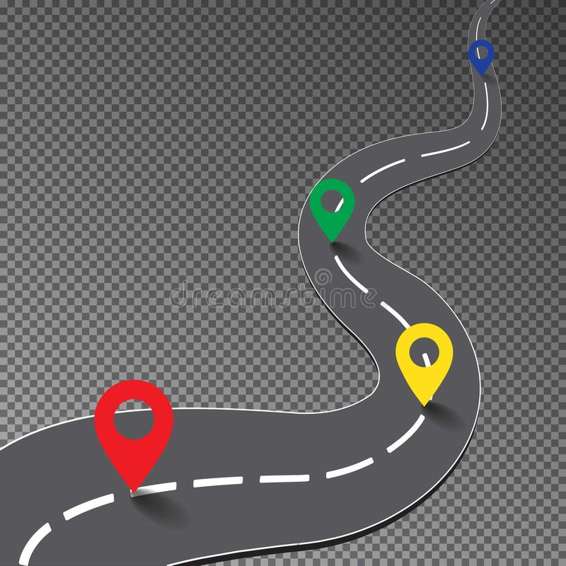 Free Street Road With Map Point Isolated On Transparent Background, Curve Way To Goal, Racing Track, Bus Royalty Free Stock Image - 118502376