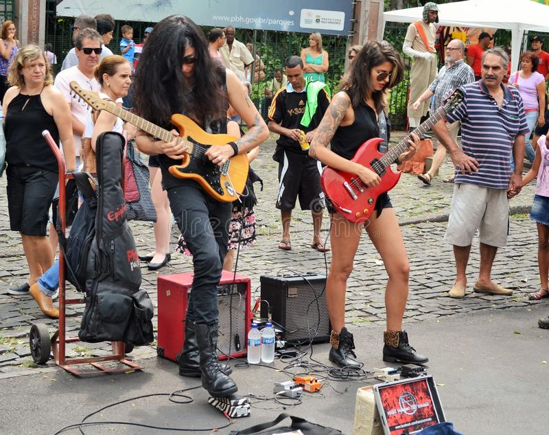 Street-rock musicians stock photography