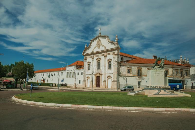 Street roundabout with building in baroque style at Estremoz royalty free stock photography