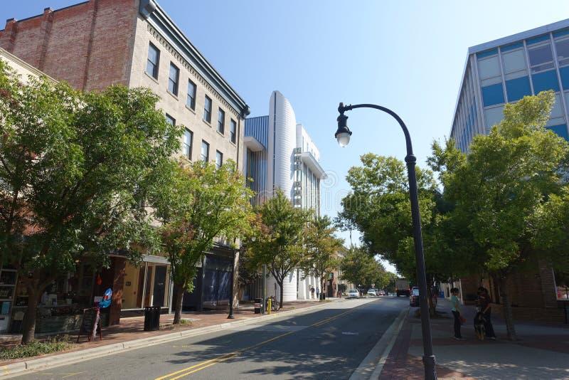 A Street in Downtown Durham, NC. A Street Running Through Downtown Durham, North Carolina royalty free stock photos