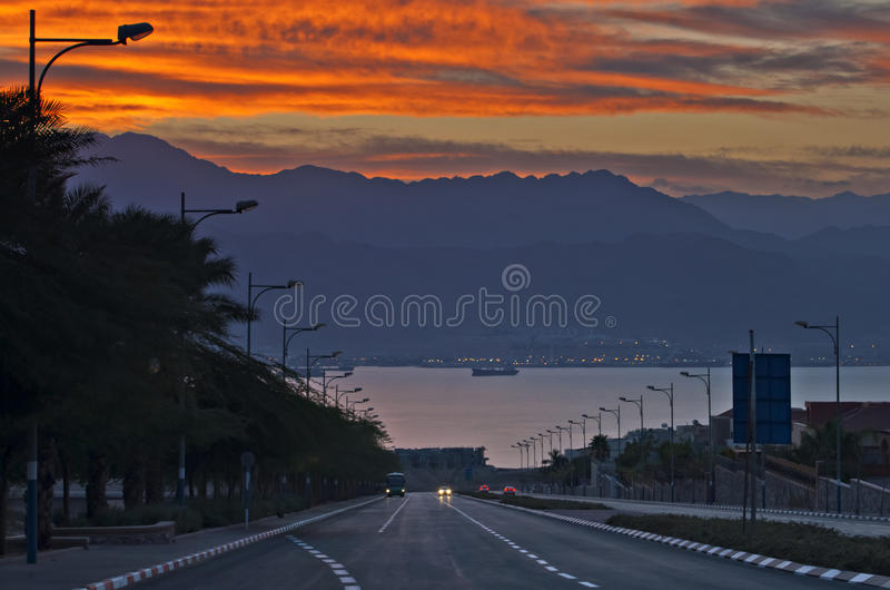 Download Street Running To The Red Sea, Eilat Stock Photos - Image: 25379233
