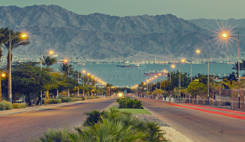 Street runnung to the Red Sea in Eilat - famous resort city of Israel. Eilat is a perfect vacation spot suitable for the perfect blend of fun, sun, diving, water royalty free stock photos