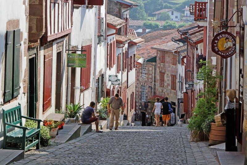 A street in saint jean pied de port editorial stock image - Distance st jean pied de port st jacques de compostelle ...