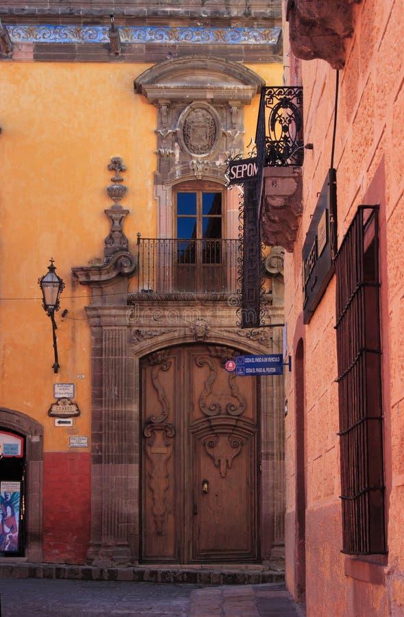 Street of San Miguel de Allende, Guanajuato, Mexico. San Miguel de Allende, Guanajuato, Mexico Founded in 1542 by Fray Juan de San Miguel, a Franciscan monk, San royalty free stock image