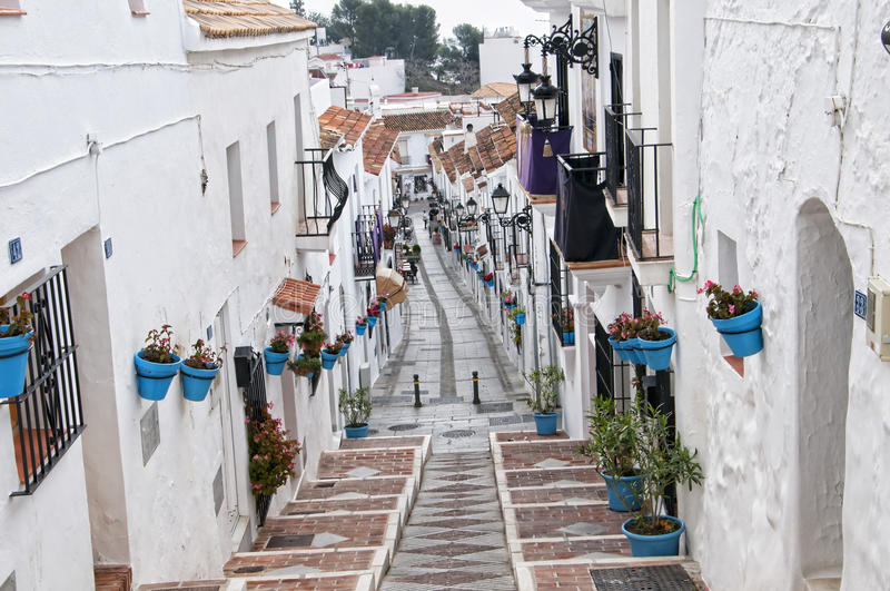 The Street of San Sebastian in Mijas on the Costa Del Sol Andalucia, Spain. Mijas is one of the most beautiful 'white' villages of the Southern Spain area called stock photos