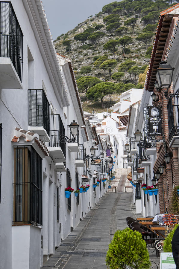 The Street of San Sebastian in Mijas on the Costa Del Sol Andalucia, Spain. Mijas is one of the most beautiful 'white' villages of the Southern Spain area called royalty free stock photo