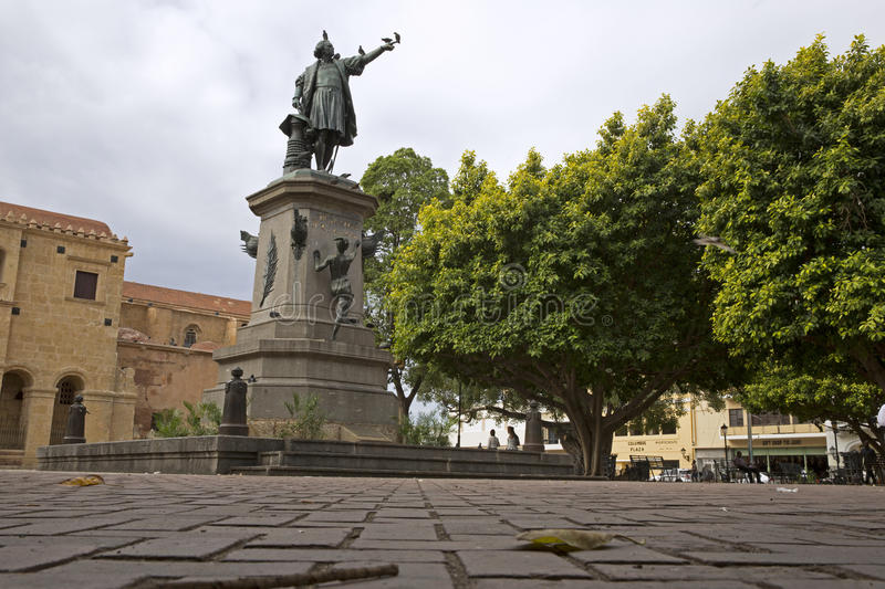 Street in SANTO DOMINGO in the caribbean DOMINICAN REPUBLIC. SANTO DOMINGO, DOMINICAN REPUBLIC-APRIL 2: Christopher Columbus square on april 2nd 2015 in the stock photo