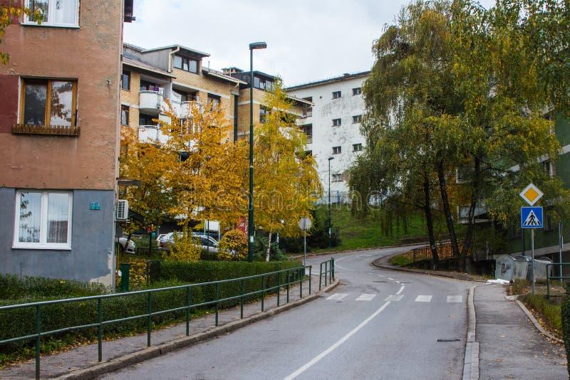 Street in  Sarajevo in autumn. Bosnia and Herzegovina royalty free stock photography