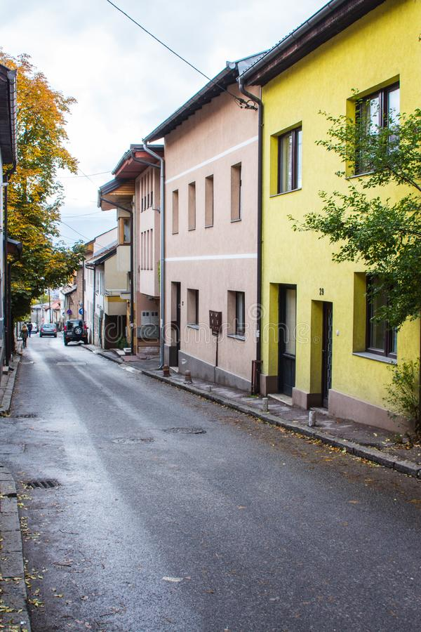 Street in  Sarajevo in autumn. Bosnia and Herzegovina stock photos
