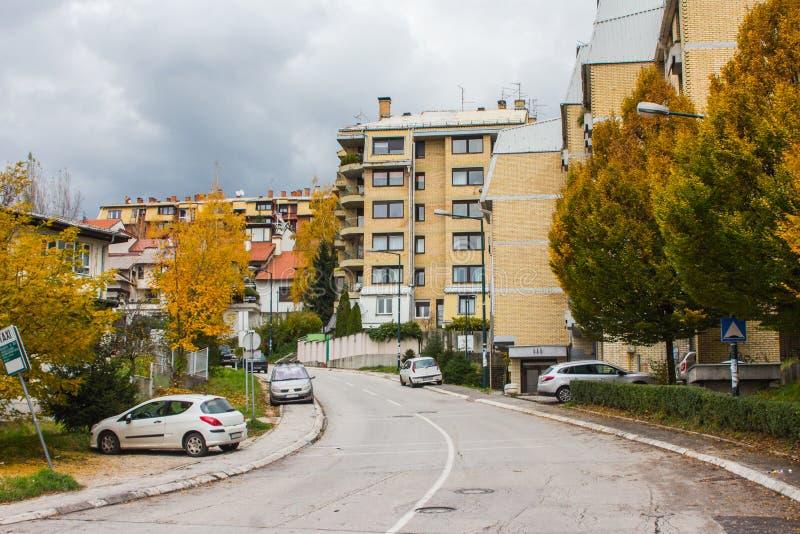 Street in  Sarajevo in autumn. Bosnia and Herzegovina stock image