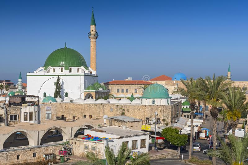 The Al Jazzar Mosque in the old city of Akko Acre, Israel. stock image