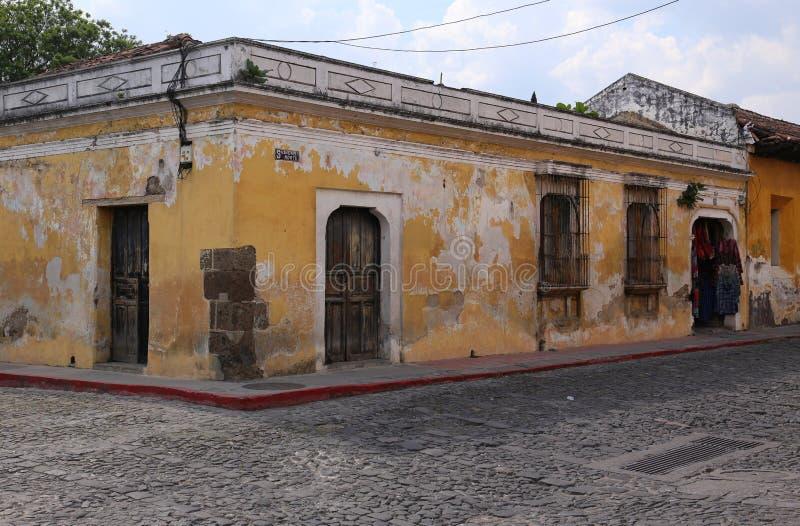 Street Scene in Antigua, Guatemala in May 2015 royalty free stock photo