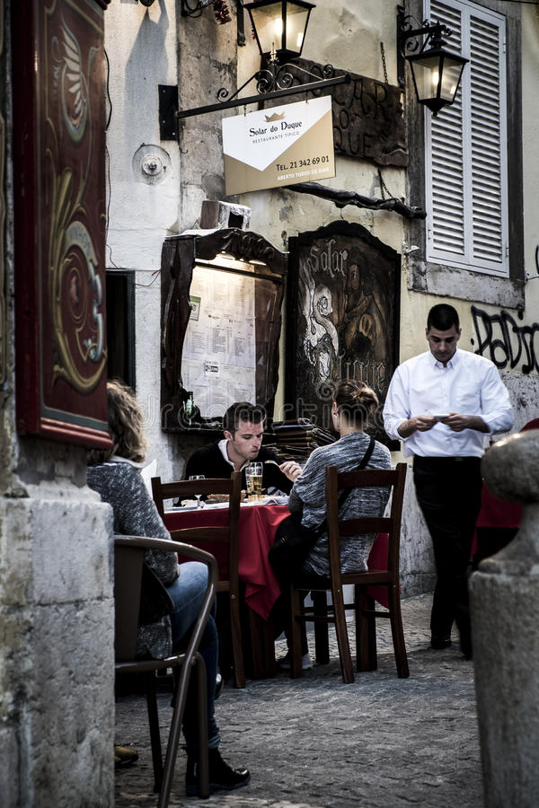 Street scene in Bairro Alto district in Lisbon stock images