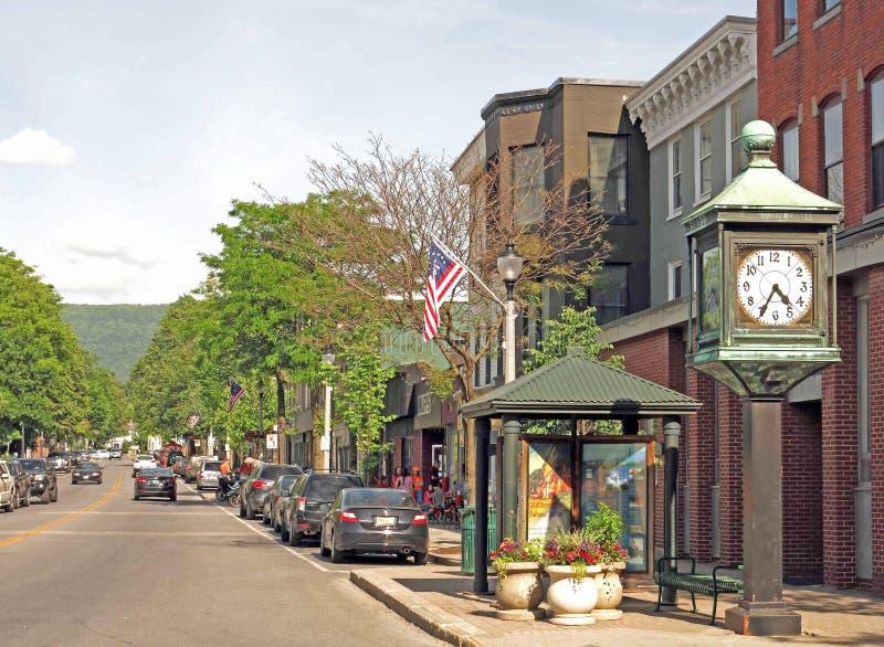 Street scene Bennington Vermont. Main Street, clock, bus shelter, street royalty free stock images