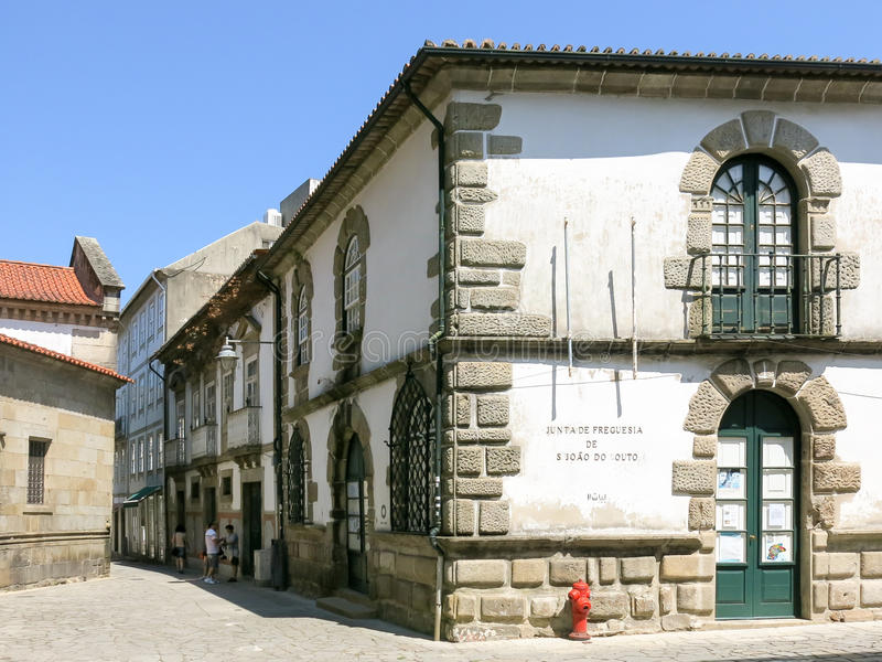 Street scene in Braga, Portugal stock photography