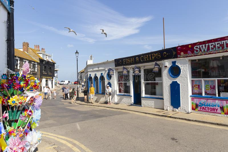 Street scene in Broadstairs, Kent, United Kingdom. Broadstairs, Kent, UK - May 23, 2019: Street scene of a beautiful relaxing sunny weekend in a lovely English royalty free stock photo