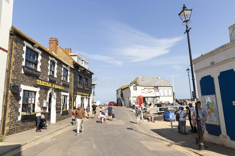 Street scene in Broadstairs, Kent, United Kingdom. Broadstairs, Kent, UK - May 23, 2019: Street scene of a beautiful relaxing sunny weekend in a lovely English stock photos
