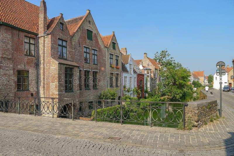 A street scene in Bruges in Belgium stock images