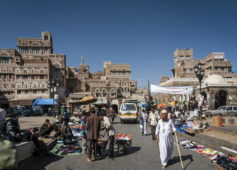 Street scene and buildings in old town of sanaa yemen royalty free stock photos