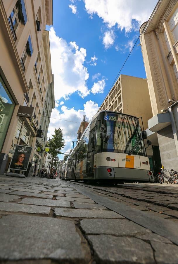 Street scene in Gent, Belgium. Street Scene with Tram in Gent, Belgium. Place an unforgettable holiday! Photo taken:26/09/2015 stock images
