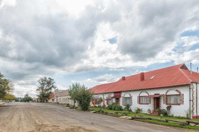Street scene, with a guest house and bar, in Zastron stock photo