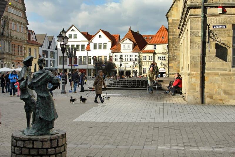 Street scene Hamelin Germany stock photo