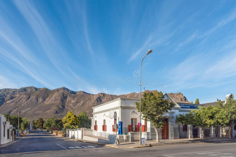 Street scene with historic bank building in Montagu royalty free stock image