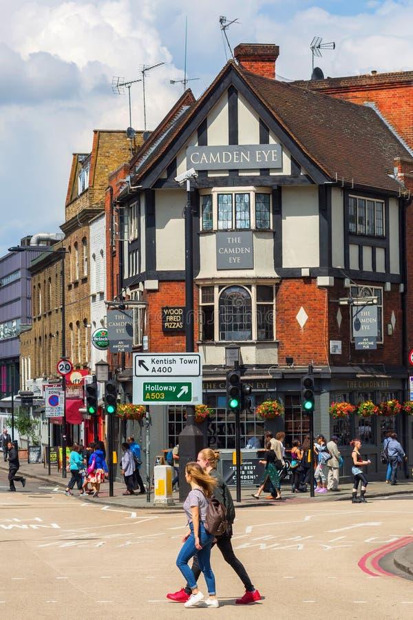 Street scene with historic buildings in Camden, London, UK stock photos