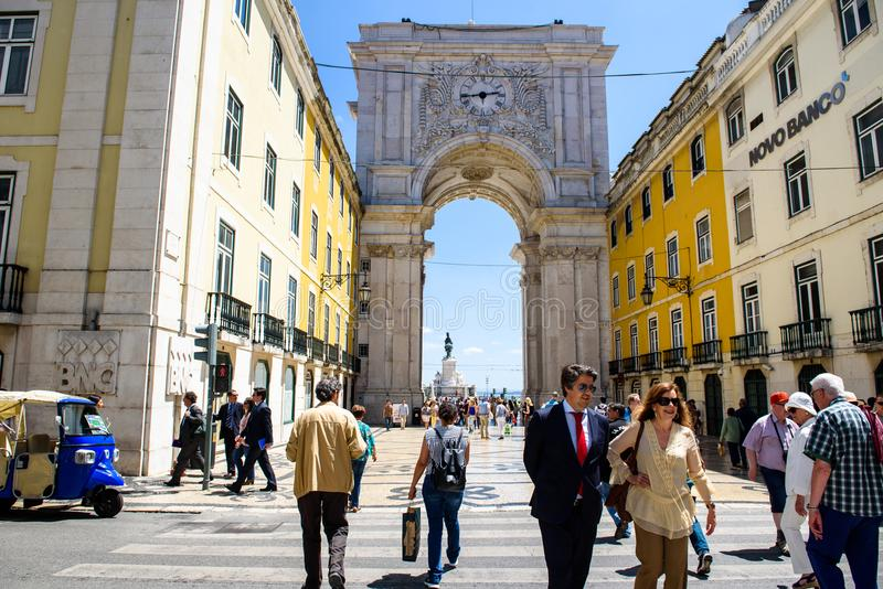 Street scene of Lisbon city in Portugal. stock photos