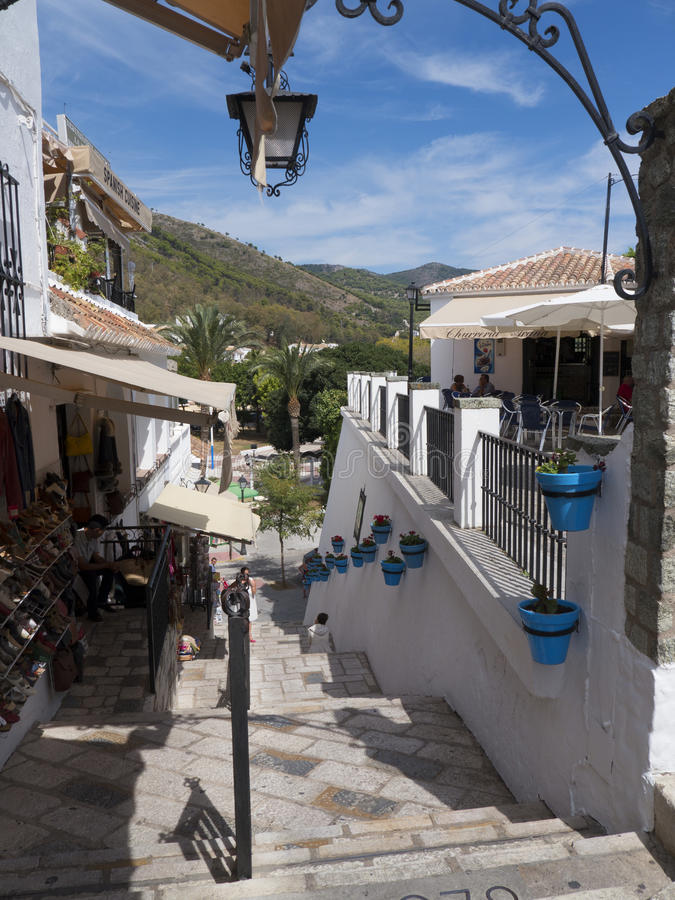 Street scene in Mijas one of the most beautiful 'white' villages royalty free stock image
