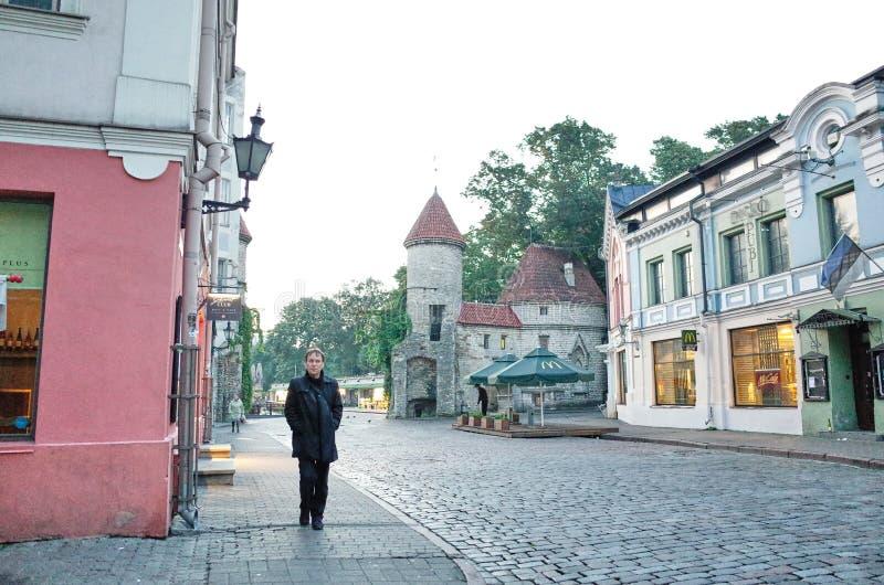Street scene in the morning - TALLINN, ESTONIA stock photo