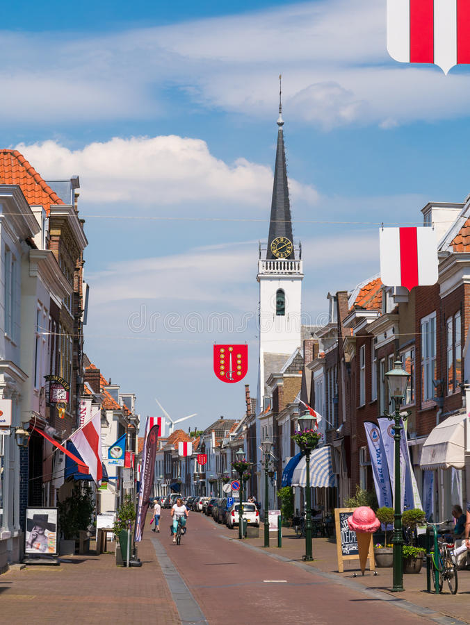 Street scene in old town of Brielle, Netherlands royalty free stock image