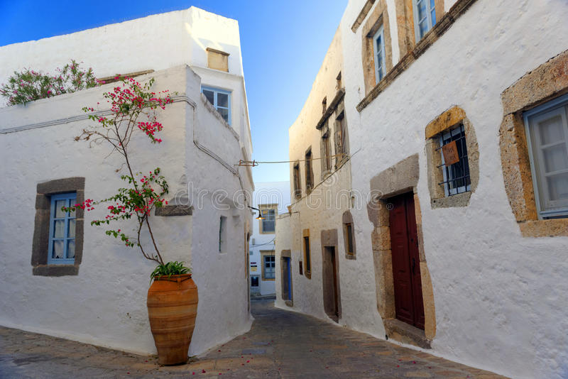 Street scene on Patmos island. Scenic view of a traditional street scene on the island of Patmos, Greece stock images
