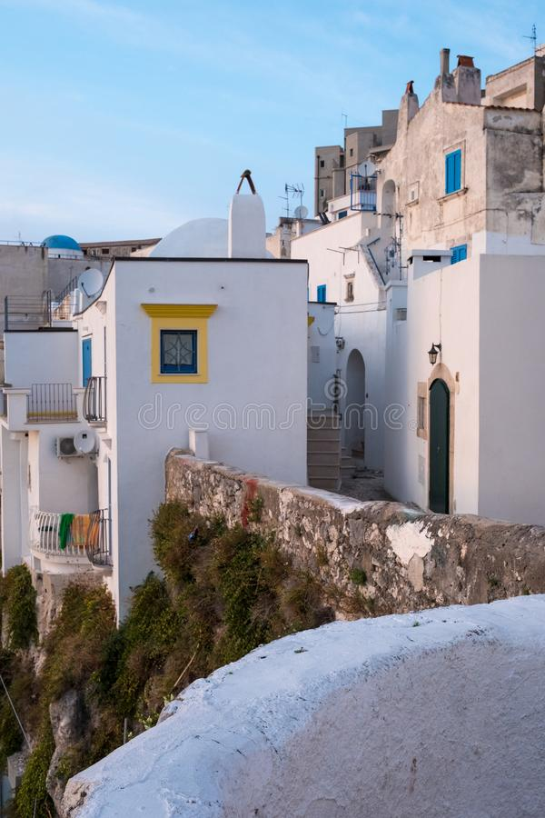 Street scene in the picturesque Puglian town of Peschici on the Gargano Peninsula, Southern Italy. Peschici is in the Foggia Province stock image