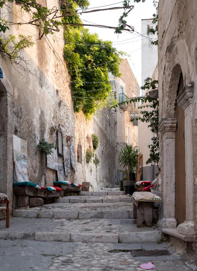 Street scene in the picturesque Puglian town of Peschici on the Gargano Peninsula, Southern Italy. Peschici is in the Foggia Province stock images