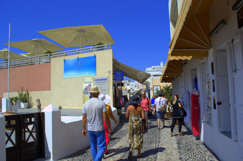 Street scene in picturesque summer Santorini. Picture taken in Santorini,Greece on September 7th,2013 -unique,amazing island.This is the main pedestrian street royalty free stock images