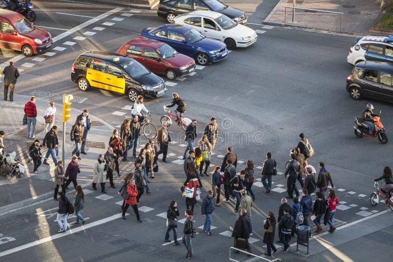 Street scene in Plaza Espana stock photo