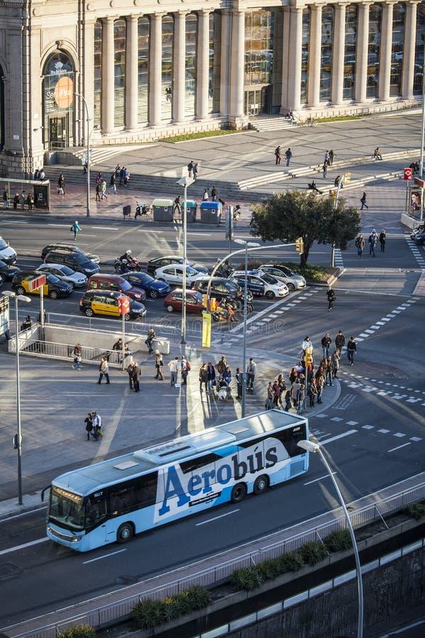 Street scene in Plaza Espana royalty free stock image
