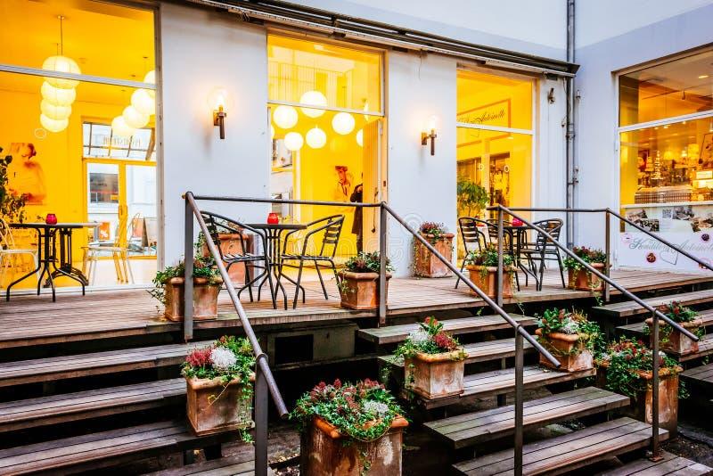 Street scene and restaurant in Copenhagen Denmark royalty free stock photos