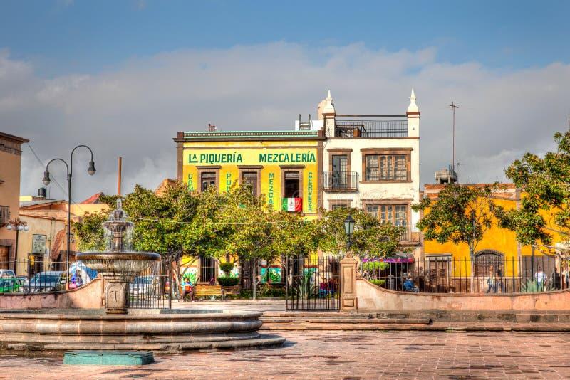 Street scene in San Luis Potosi, Mexico. Mezcaleria in San Luis Potosi, Mexico stock image