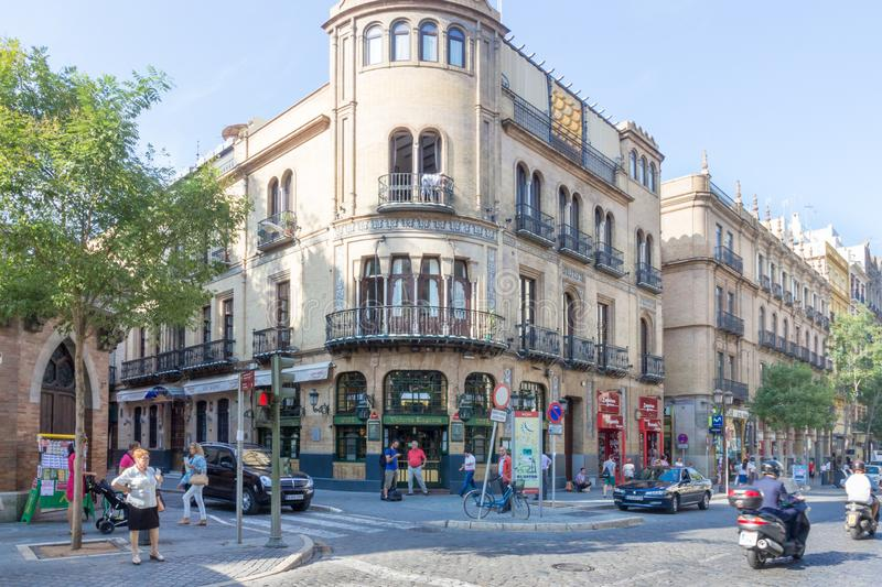 Street Scene. Seville, Spain-September 3rd 2015: Busy street scene in the centre of the city. Seville is the capital of Andalusia royalty free stock photography
