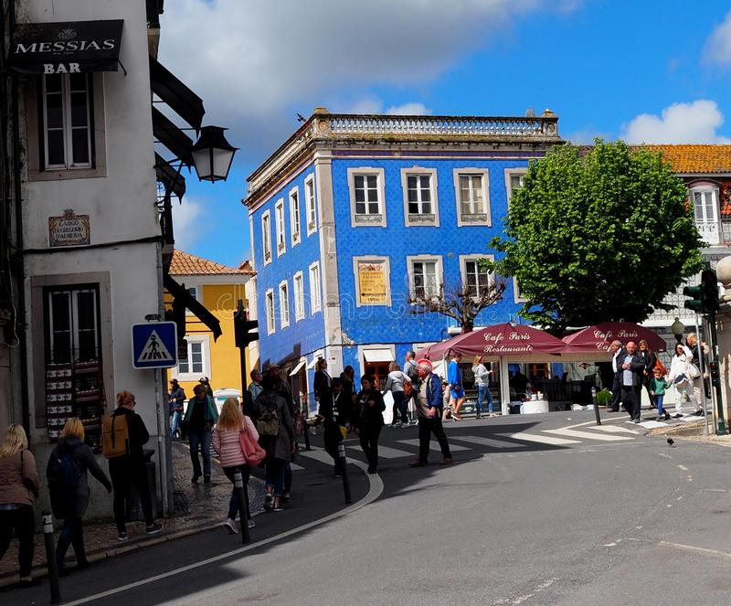 Street Scene With Blue Building In Sintra Portugal stock photography