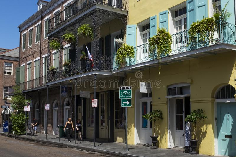 Street scene in a street of the French Quarter in New Orleans, Louisiana royalty free stock photos