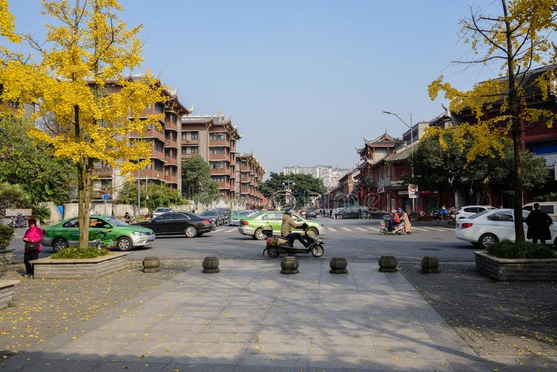 Street scene at T-intersection in city of sunny winter stock photo